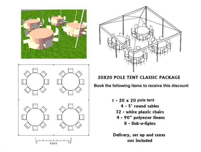 Where to find PACKAGE DISCOUNT CLASSIC 20X20 POLE TENT in Roanoke