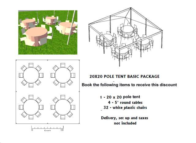 Where to find PACKAGE DISCOUNT BASIC 20X20 POLE TENT in Roanoke