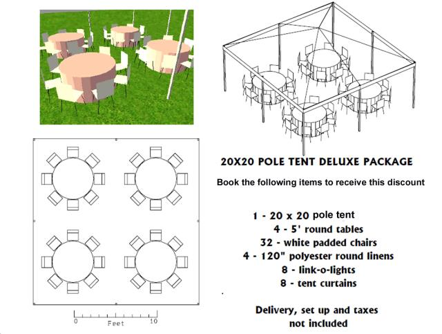 Where to find PACKAGE DISCOUNT DELUXE 20X20 POLE TENT in Roanoke