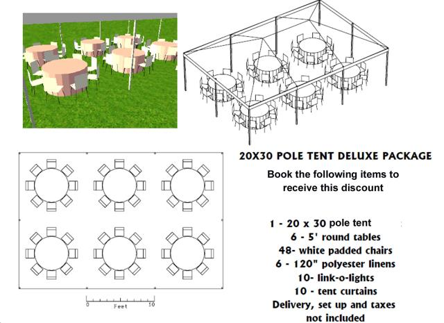 Where to find PACKAGE DISCOUNT DELUXE 20X30 POLE TENT in Roanoke