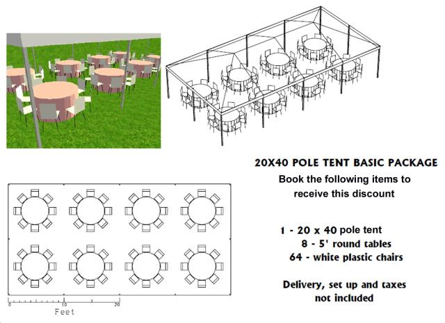 Where to find PACKAGE DISCOUNT BASIC 20X40 POLE TENT in Roanoke